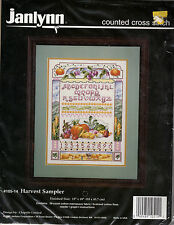 ** COUNTED CROSS STITCH KIT JANLYNN #105-14 HARVEST SAMPLER