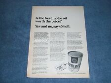 "1968 Shell Motor Oil Vintage Ad ""Is the Best Motor Oil Worth The Price"""
