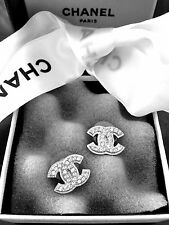 CHANEL SILVER METAL CC LOGO SWAROVSKI CRYSTALS  EARRINGS CHANEL  BOX