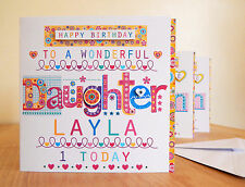 Daughter personalised happy birthday card Daughter special birthday card.