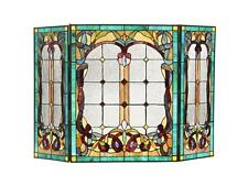 """Tiffany Style Stained Glass Victorian 3 Panel Folding Fireplace Screen 44 X 28"""""""