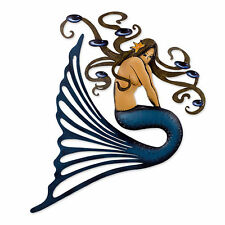 Steel Wall Sculpture Metal Art Handmade 'Shy Mermaid' NOVICA Mexico