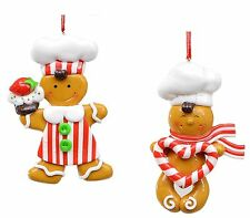 Set of 2 Gingerbread Men Christmas Tree Decorations NEW   27707