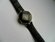 Unusual Hexagon Gold and Crystal  Quartz Watch Black Strap