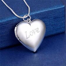 925 Silver Love Heart Photo Locket Pendant Chain Necklace Valentines Love *UK*