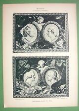 ART NOUVEAU Era Original Print 1897 - Music Composers Gluck Weber Haydn Mozart