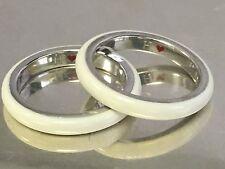Set of 2 HIDALGO Sterling 925 White Enamel Stack Rings Size 6