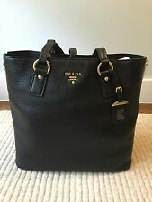 Prada Black Pebbled Calfskin Leather Tote With Gold Tone Hardware Zippers BR4372