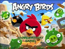 A4 angry birds edible icing birthday cake topper