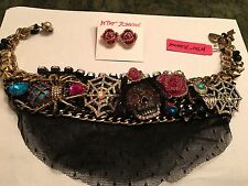 Betsey Johnson Skull, Spider, Web, Rose Jeweled Studded Necklace And Earrings
