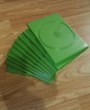 NEW 10 x Green empty DVD / CD / XBox cases. Plastic. Colouring. 14mm. Single