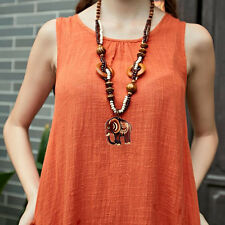 New Boho Jewelry Ethnic Style Long Hand Made Bead Wood Elephant Pendant Necklace