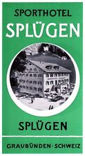 Sport-Hotel SPLÜGEN Switzerland luggage label Kofferaufkleber   x0362