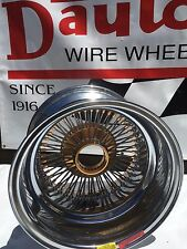 15 x 10 New Dayton Wire Wheels: Gold Hub & Nips, 72 Spoke, Reverse, Set of 4