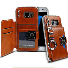 Dual Back Leather Flip wallet Metal Ring Clutch Case for iPhone 7 Galaxy LG