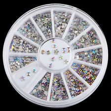 1 Wheel 6 Mix Style Nail Art Rhinestones Glitter Diamond Gems 3D Stud Decoration