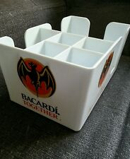 White BARCARDI Bar Tidy Caddy Napkin/Straw/Cocktail/Stirrer/Holder/Rum/Alcohol