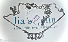 "NWT - LIA SOPHIA ""ICE STORM"" NECKLACE - SILVER w/DANGLING CRYSTALS - 2014/$34"
