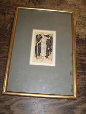 ART DECO PERIOD FRAMED PRINT OR DRAWING OF A  ELEGANT LADY PRETTY