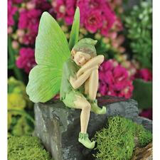 "FiddleHead Fairy Garden MOTH FAIRY, Green, Sitting Fairy Figurine, 2.5"" Tall"