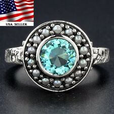 2CT Aquamarine & Seed Pearl 925 Solid Sterling Silver Art Deco Poison Ring Sz 8