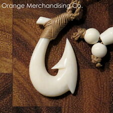 Hawaiian Fish Hook Bone Necklace Maori Hei Matau Small Pendant New Zealand A1