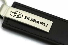 Subaru Leather Key Chain Black Rectangular Key Ring Fob Lanyard WRX
