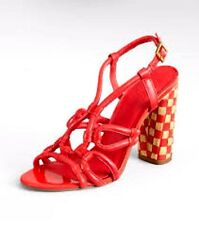 "Tory Burch $395 Women's LAYCE  Sandals 4.5"" High Woven Heels Red Size (7)"