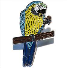 Yellow & Blue Macaw Parrot On Perch Metal Enamel Pin Bird Badge 34mm New