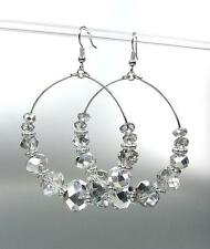 GLITZY Urban Anthropologie Smoky Hematite Crystals Statement Dangle Earrings