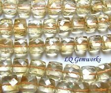 "8"" GOLDEN CITRINE 8mm Faceted Box Cut Cube Beads AA NATURAL"