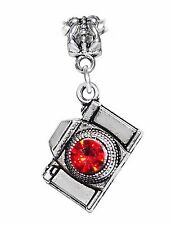 Red Rhinestone Camera Photographer Dangle Charm for Silver European Bracelets