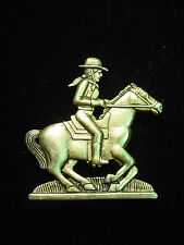 """""""JJ"""" Jonette Jewelry Antique Gold Pewter 'COW GIRL Riding Horse' Pin"""