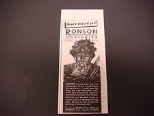 "1943 Ronson Lighter Print Ad,WWII,""Hasn't Missed Yet"",World's Greatest"