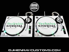 2 custom white powder coated Technics SL1200 mk2 with green leds dj turntables