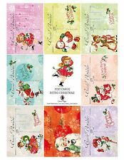 8 Retro Christmas Postcards Hang Tags - Scrapbooking, Paper Crafts (149)