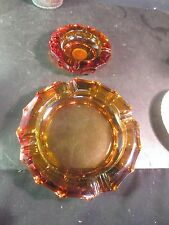 Pair Amber Fostoria Coin Ashtrays NICE!!