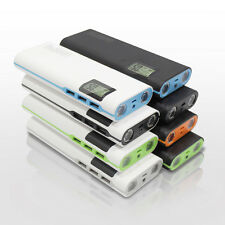 50000mAh Portable Power Bank 3 USB 2LED LCD Battery Charger For Phone White+Grey