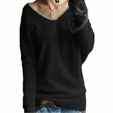 Sexy Women's Long Batwing Knitted Sleeve V Neck Cashmere Fashion Loose Sweater
