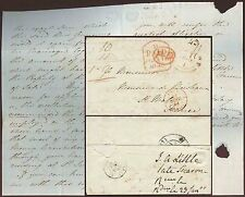 GB 1843 LETTER to FRANCE ST MALO from J.A LITTLE...PD + PAID TOMBSTONE in RED