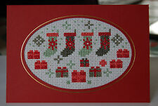 Completed Cross-stitch Christmas Card - Christmas Stockings - Red