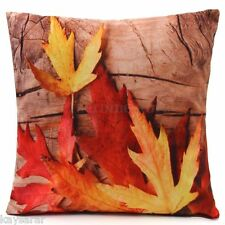 AUTUMN LEAVES & Brown Wood New Velour CUSHION COVER Maple British Flower GB Sale