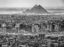 AERIAL CAIRO EGYPT PYRAMID CITYSCAPE BLACK WHITE PRINT POSTER PICTURE BMP1877A
