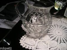 Beautiful Vintage Lead Crystal Cut Glass Pitcher 6'' tall