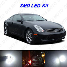 9 x White LED Interior Bulbs + Reverse + Tag Lights for 2003-2007 G35 Coupe