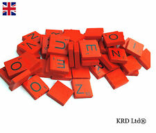 100 COLOURED Wooden Scrabble Tiles Mix Letters Varnished Alphabet Scrabbles RED