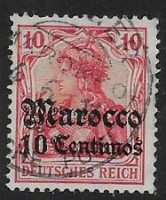 GERMAN P.O.'S IN MOROCCO SG41 1906 10c ON 10pf CARMINE WMK LOZENGES USED