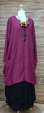 LAGENLOOK OVERSIZE*MB GERMANY*QUIRKY WAFFLE EFFECT TUNIC*FUCHSIA*SIZE 1 L-XL