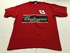 DALE EARNHARDT JR. Budweiser Red T-Shirt 8 Adult XL Printed Both Sides TEE S/s