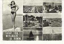 cartolina di rimini con giovane donna in costume tipo pin up 1958